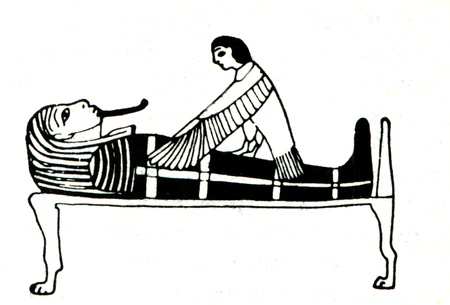 RUSSIA - CIRCA 1914: Engraving The soul returns to the grave, the image on an Egyptian papyrus . Book  Stock Photo - 11580487
