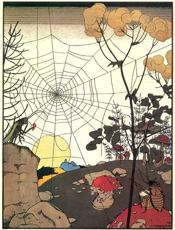 landscape with cobwebs - illustrations by Gregory Narbut Russian folk tale