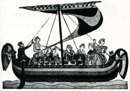 Old antique engraved illustration Norman ship, carrying mounted warriors. World Maritime History, Russia, 1898 Stock Photo - 11580547