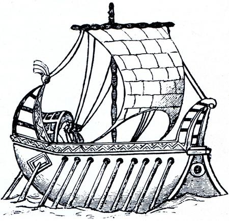 engraver: Old antica incisa illustrazione vela-remi barca secolo nono. Storia del Mondo Maritime, Russia, 1898