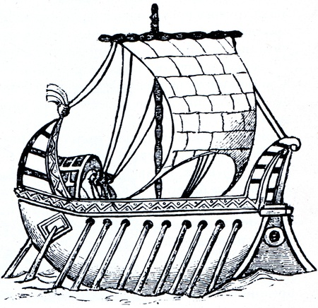 Old antique engraved illustration Sailing-rowing boat 9th century. World Maritime History, Russia, 1898 Stock Photo - 11580521