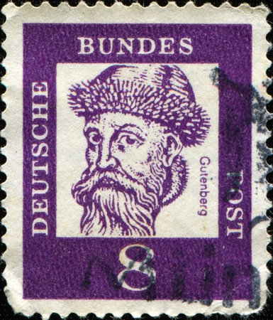 laden: GERMANY - CIRCA 1961: A stamp printed in Germany shows Johannes Gensfleisch zur Laden zum Gutenberg - blacksmith, goldsmith, printer, and publisher who introduced the printing press, circa 1961