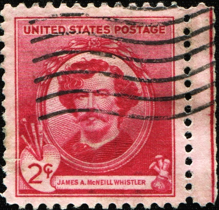UNITED STATES OF AMERICA - CIRCA 1934: A stamp printed in the USA shows artist James McNeill Whistler, circa 1934  photo