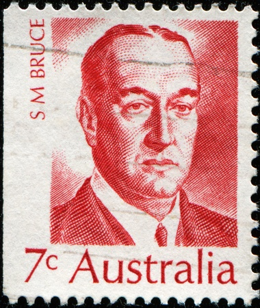 eighth: AUSTRALIA - CIRCA 1972: A stamp printed in Australia shows Stanley Melbourne Bruce, 1st Viscount Bruce of Melbourne - Australian politician and diplomat, and the eighth Prime Minister of Australia, circa 1972
