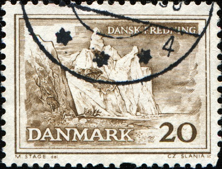 DENMARK - CIRCA 1962: A stamp printed in Denmark shows Cliffs, Island of Mon, Dansk Fredning (Preservation of Danish Natural Amenities and Ancient Monuments) series, circa 1962 photo