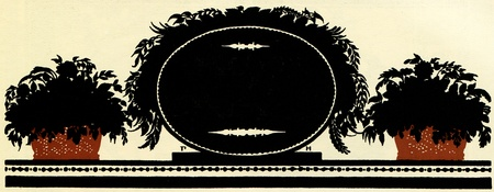 planters: black oval plaque for inscription flanked by two planters with flowers, illustration Yegor Narbut, the book Fables by Ivan Krylov, publisher Joseph Knebel, Moscow, Russia, 1912