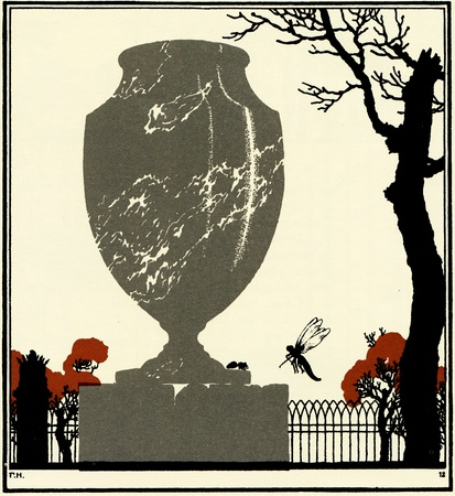 dragonfly and ant on the vase, located in the park, illustration Yegor Narbut, the book Fables by Ivan Krylov, publisher Joseph Knebel, Moscow, Russia, 1912