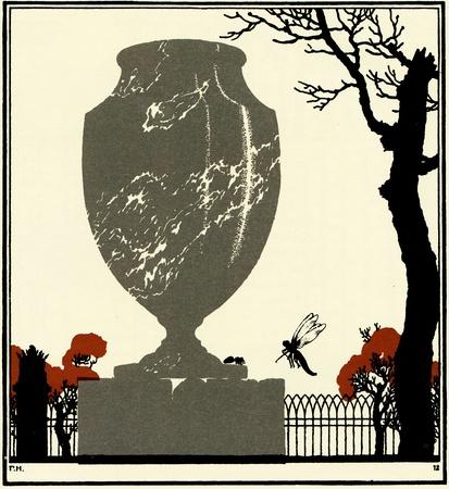 Libelle und Ameise auf der Vase, im Park gelegen, Illustration Jegor Narbut, den Fabeln Buch von Ivan Krylov, Verleger Joseph Knebel, Moskau, Russland, 1912 Lizenzfreie Bilder - 11580618