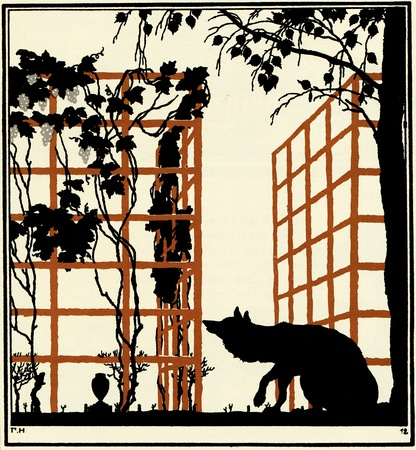 xx century: Fox is considering a bush vine, illustration Yegor Narbut, the book Fables by Ivan Krylov, publisher Joseph Knebel, Moscow, Russia, 1912