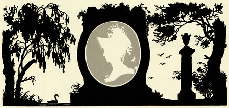 medallon with a female profile in the cap on the background of the park, illustration Yegor Narbut, the book Fables by Ivan Krylov, publisher Joseph Knebel, Moscow, Russia, 1912 Stock Photo - 11580620
