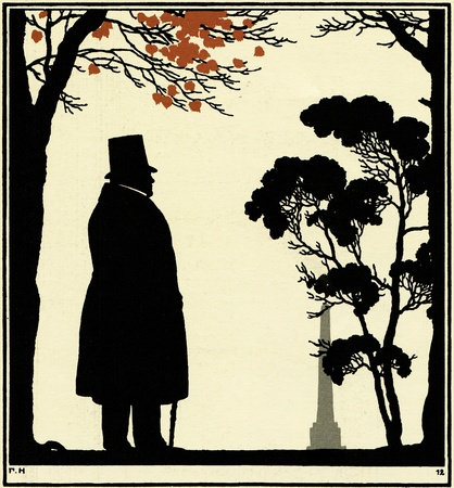 xx century: silhouette of the poet Ivan Krylov, walking in the park,  illustration Yegor Narbut, the book Fables by Ivan Krylov, publisher Joseph Knebel, Moscow, Russia, 1912