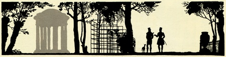 silhouettes of two men walking in the park with the dog,  illustration Yegor Narbut, the book Fables by Ivan Krylov, publisher Joseph Knebel, Moscow, Russia, 1912 Stock Photo - 11580629