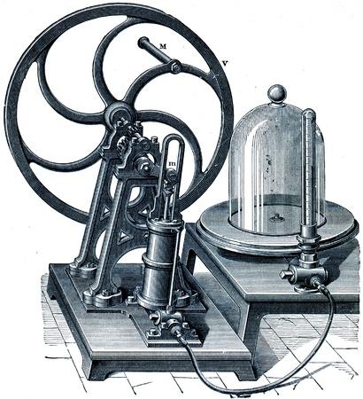 engraver: doppia pompa di aria azione con un solo cilindro oscillante - un'illustrazione per l'istruzione enciclopedia editori, San Pietroburgo, Impero russo, 1896