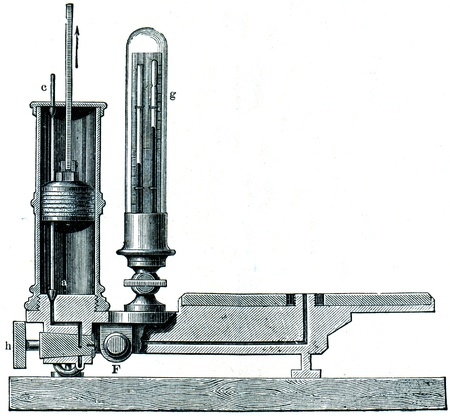 publishers: section of an air pump with two cylinders and valves - an illustration of the encyclopedia publishers Education, St. Petersburg, Russian Empire, 1896