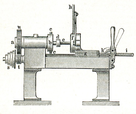 publishers: lathe - an illustration of the encyclopedia publishers Education, St. Petersburg, Russian Empire, 1896