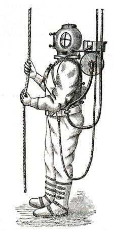 engraver: Apparecchi per immersione da Benoit Rukeyol e Auguste Deneyruz - un'illustrazione per l'istruzione enciclopedia editori, San Pietroburgo, Impero russo, 1896