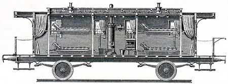 longitudinal: Military sanitation. Wagon for patients Prussian hospital train (longitudinal section)  - an illustration of the encyclopedia publishers Education, St. Petersburg, Russian Empire, 1896