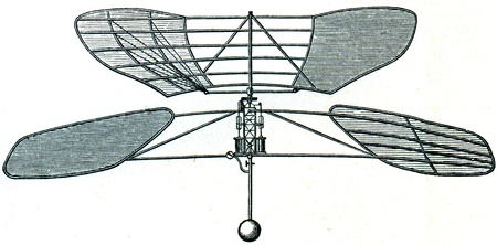 aerial appliance of Forlanini, 1878 - an illustration of the encyclopedia publishers Education, St. Petersburg, Russian Empire, 1896