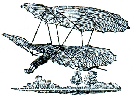 publishers: Aerial projectile of Liental during flight, front view - an illustration of the encyclopedia publishers Education, St. Petersburg, Russian Empire, 1896