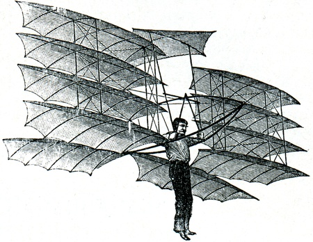 Aerial projectile of Chanutes with twelve wings - an illustration of the encyclopedia publishers Education, St. Petersburg, Russian Empire, 1896