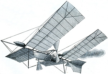 Aerial projectile of Langley - an illustration of the encyclopedia publishers Education, St. Petersburg, Russian Empire, 1896