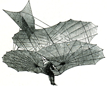 Aerial projectile of Liental during flight, rear view - an illustration of the encyclopedia publishers Education, St. Petersburg, Russian Empire, 1896
