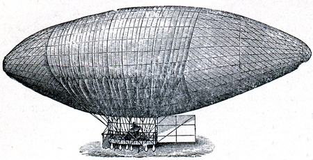blimps: Airship of Velfert - an illustration of the encyclopedia publishers Education, St. Petersburg, Russian Empire, 1896