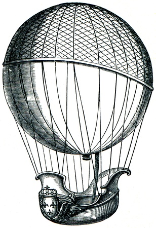 blimps: balloon of Charles, and brothers Robert, 1784  - an illustration of the encyclopedia publishers Education, St. Petersburg, Russian Empire, 1896 Editorial
