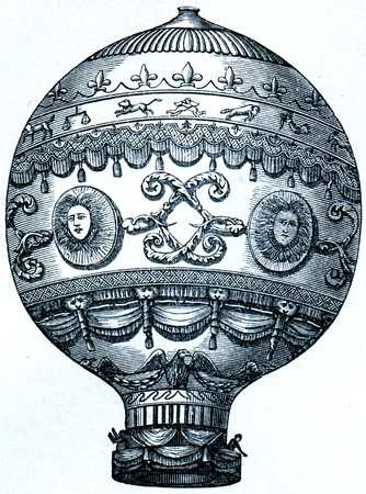 Montgolfier balloon, 1873  - an illustration of the encyclopedia publishers Education, St. Petersburg, Russian Empire, 1896