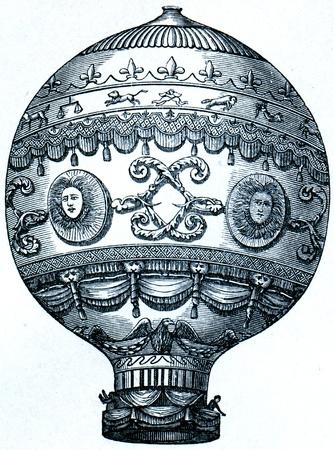 engraver: Montgolfier balloon, 1873 - l'illustrazione della Istruzione enciclopedia editori, San Pietroburgo, Impero russo, 1896 Editoriali