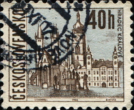 CZECHOSLOVAKIA - CIRCA 1966: A stamp printed in Czechoslovakia shows Hradec Kralove, circa 1966  photo