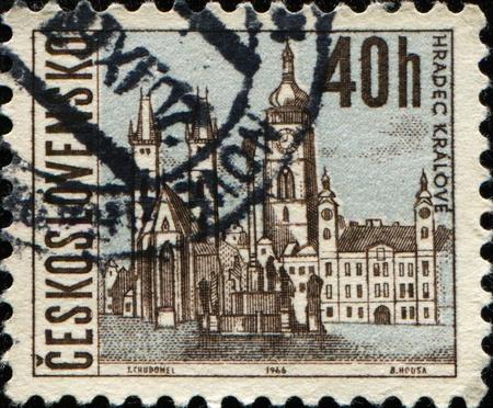 czechoslovakia: CZECHOSLOVAKIA - CIRCA 1966: A stamp printed in Czechoslovakia shows Hradec Kralove, circa 1966