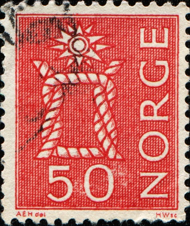 prevailing: NORWAY - CIRCA 1962: A stamp printed in Norway shows Reef Knot, circa 1962
