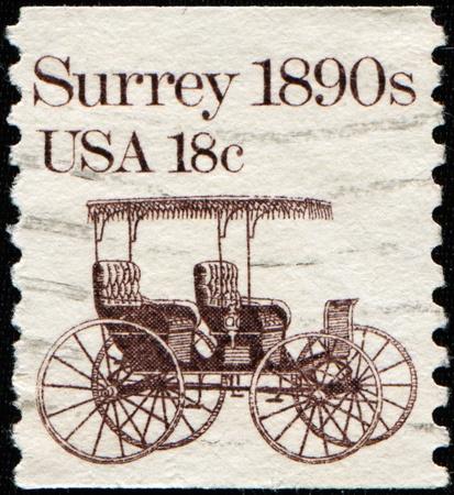 USA - CIRCA 1981: A stamp printed in the USA shows Surrey 1890s, circa 1981  photo