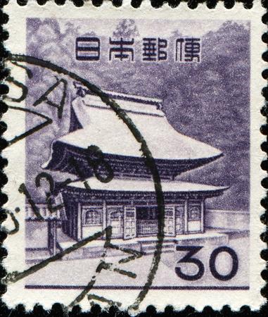 JAPAN - CIRCA 1962: A stamp printed in Japan shows Zuirokuzan Engaku Kosho Zenji, or Engaku-ji, is one of the most important Zen Buddhist temple complexes in Japan, circa 1962 Stock Photo - 11573998