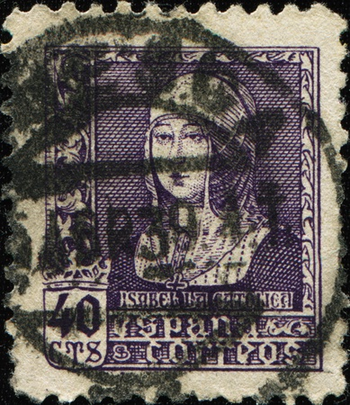 queen isabella: SPAIN - CIRCA 1938: A stamp printed in spain shows Isabella la Catolica or Isabella I was Queen of Castile and Leon, circa 1938 Stock Photo