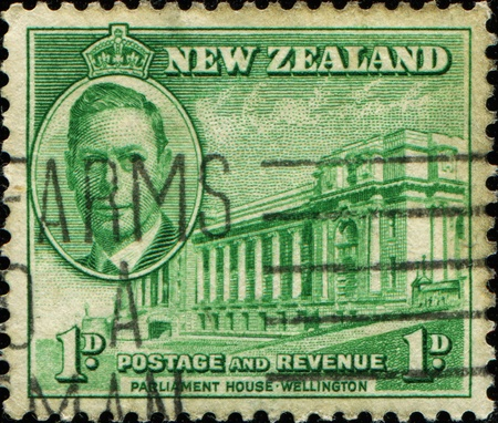 NEW ZEALAND - CIRCA 1946: A stamp printed in New Zealand shows Parliament House in Wellington, circa 1946  photo