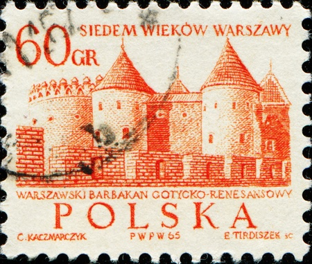 outpost: POLAND - CIRCA 1965: A stamp printed in Poland shows Barbican (semicircular fortified outpost) in Warsaw, circa 1965