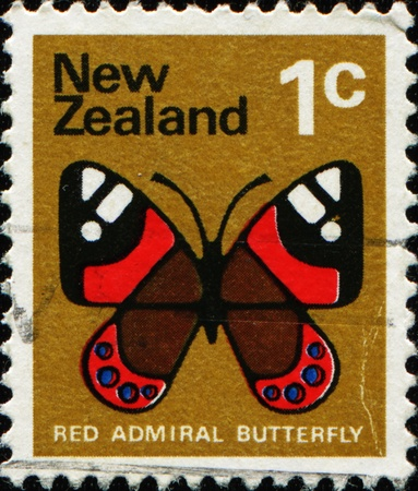 NEW ZEALAND - CIRCA 1970: A stamp printed in New Zealand shows image of a red admiral butterfly, series, circa 1970