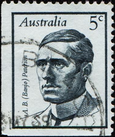 AUSTRALIA - CIRCA 1968: A stamp printed in Australia shows Andrew Barton (Banjo) Paterson, circa 1968  photo