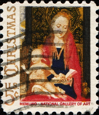 memling: USA -CIRCA 1966: A stamp printed in USA shows the picture of the Virgin Mary and baby Jesus in her lap. The original image was from mid 1488-1490 - a painting named Madonna and Child. Circa 1966