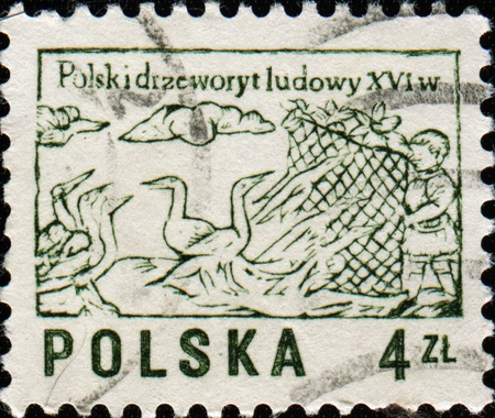 POLAND - CIRCA 1974: Stamps printed in Poland shows catcher of birds, circa 1974  photo