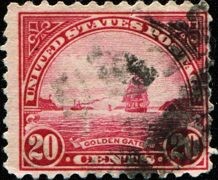 communications tower: USA - CIRCA 1922: A stamp printed in USA shows Golden Gate in San Fracisco, circa 1922