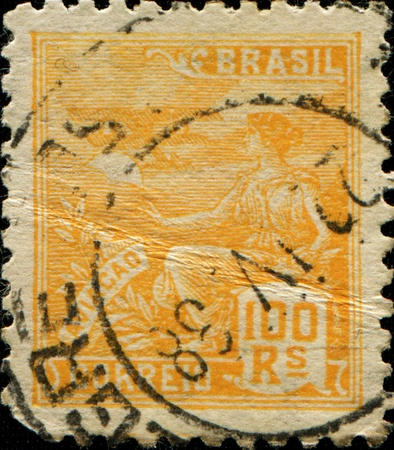 BRAZIL - CIRCA 1920: A stamp printed in Brazil shows Aviation mythology and Mythical Creatures aircraft, circa 1920  photo