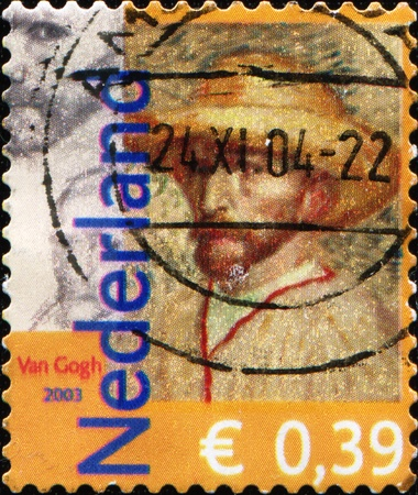 NETHERLANDS - CIRCA 2003: A stamp printed in the Netherlands, is dedicated to the 150th anniversary of Vincent Van Gogh, shows a self-portrait in a straw hat, circa 2003