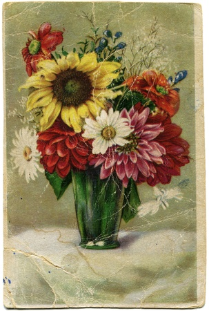 old post card bouquet of flowers in a green vase, Germany, 1951