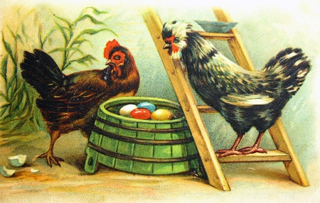 GERMANY - CIRCA 1910: Postcard printed in the Germany shows Hen and a rooster near the nests with colored eggs, circa 1910