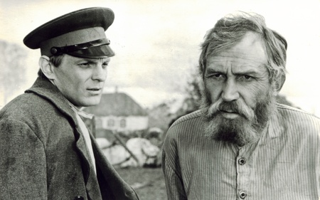 unsolicited: Scene from the movie Unsolicited love Mosfilm, 1965. Directed by Vladimir Monakhov. Operators Igor Bogdanov, Vladimir Zaharchuk. In the role of Nikolai - Yuri Nazarov, Father Gabriel - Ivan Lapikov. Old postcard printed by the Latvian branch of propagan Editorial