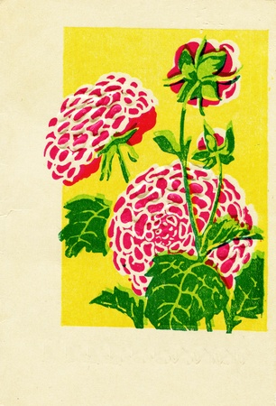 reproduction: Greeting card shows  red fkowers, USSR, 1965  - reproduction og vintage postcard Stock Photo