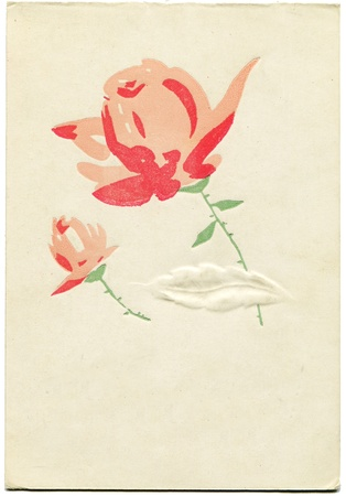 reproduction: Greeting card shows two red roses, 1966 - reproduction og vintage postcard